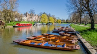 Punts on the River Cam in Cambridge on 5 April 2018.