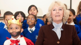 The Duchess met children benefiting from the project, run by the Beanstalk literacy charity