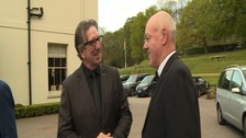 Ipswich Town legends and ex room mates Paul Mariner (left) and John Wark catch up in Kesgrave, Suffolk