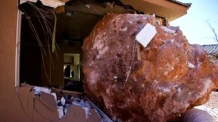 The drama unfolded in the middle of the night in St George in Utah after the boulder rolled down a steep slope