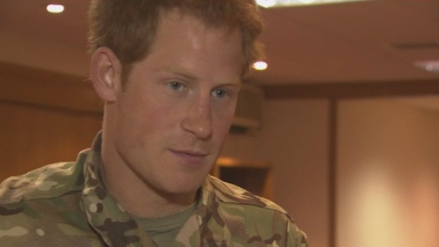 Prince Harry shortly after arriving home from Afghanistan