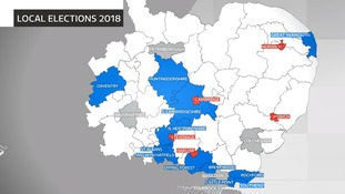 Areas in the Anglia region with council elections on 3 May 2018.  Councils marked in blue had a Conservative majority before the election, those in red were Labour and the grey indication councils where on one party has an overall majority.