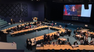 Peterborough Council tweeted: Counting staff are eagerly waiting at Kingsgate for the ballot boxes to come in when the polling stations close at 10pm