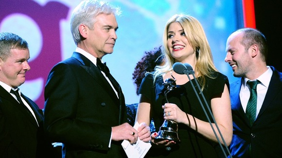 Phillip Schofield and Holly Willoughby with the Award for Best Daytime Show received for This Morning