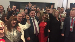 Labour celebrate victory after taking control of Trafford.