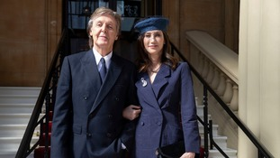 ir Paul McCartney and his wife Nancy Shevell arrive for his Investiture at Buckingham Palace