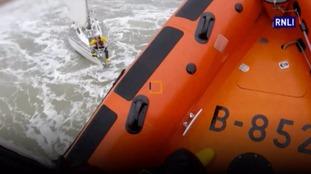 Dramatic rescue of stricken yacht in dangerous seas