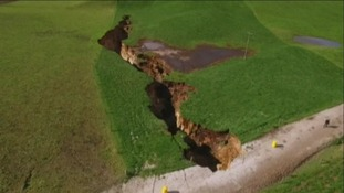 Huge sinkhole opens up in the middle of New Zealand farm