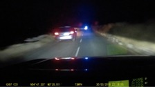 Dash cam footage of the police pursuit