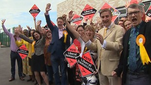 Liberal Democrats celebrate a famous victory in South Cambridgeshire.
