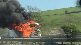Tanker fire causes major delays on M62