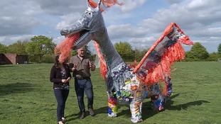Scruff the dragon has been made to highlight the use of single use plastic