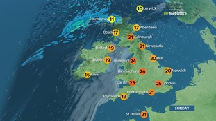 Weather: dry with plenty of sunshine and very warm in places