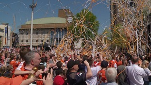 Thousands of Hatters fans pack into town centre to celebrate promotion