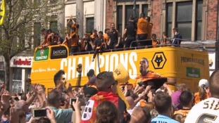 Watch: Wolves get heroes welcome at promotion party and bus parade