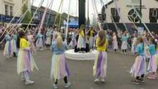 Traditional Maypole dancing in Holywood, Co Down