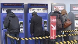 People use ticket machines