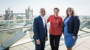 Mayor of London Sadiq Khan, Val Shawcross and Labour MP Heidi Alexander