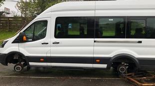 Thieves steal wheels off children's charity minibus