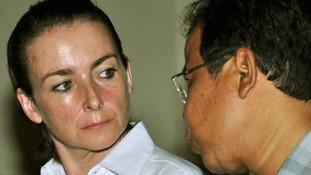 Rachel Dougall with her translator in court in Denpasar, Bali, in December.