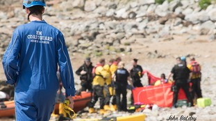 Lifeboats, police, coastguards and an air ambulance were called to the scene.