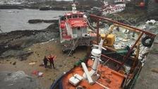 The devastation in Holyhead following Storm Emma