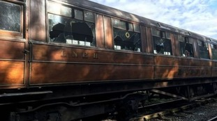Seven carriages were vandalised