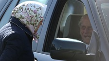 The Duke of Edinburgh was seen driving his car at the Royal Windsor Horse Show on Friday.
