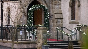 The scene of the shooting outside St Mary's Church in Newtownbutler ahead of a family wedding
