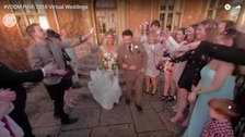 Guests can watch the wedding through virtual reality headsets
