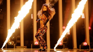 Eleni Foureira from Cyprus performs her song Fuego.
