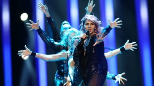 Lea Sirk from Slovenia performs the song 'Hvala, ne!' in Lisbon.
