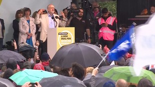 Jeremy Corbyn addresses tens of thousands at march urging 'new deal' for workers