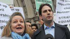 Rebecca Steinfeld and Charles Keidan outside the Royal Courts of Justice.