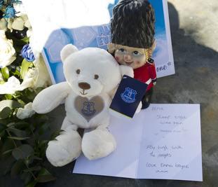 Everton FC memorabillia was a popular tribute to Alfie.