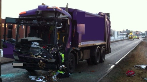 One of the vehicles involved in the collision