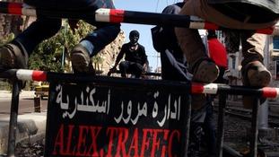Protesters block roads around a main square in Alexandria, Egypt.