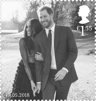 The more informal royal wedding stamp featuring Harry and Meghan