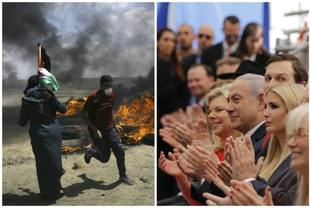 Palestinians protest as dignitaries applaud at the opening ceremony of the new US embassy in Jerusalem.