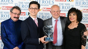 Steven Tsui and Stephen Large with the Hero Pioneer Award presented by Lord Robert Winston and Dame Shirley Bassey