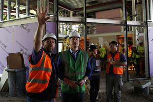 Presenter Nick Knowles gave the duke a tour of a construction site that is building a community centre for the Grenfell Tower fire victims.