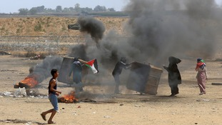 Palestinians protest at the Gaza border on Monday.