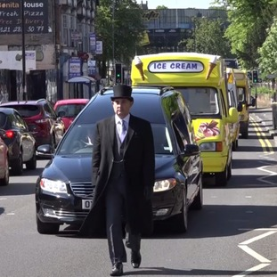 The funeral procession in Birmingham today