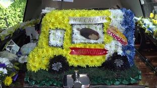 A floral recreation of Mac Leask's last ice cream van