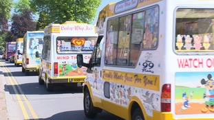 The procession of ice cream vans played in unison after the funeral