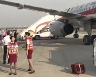 Air crew with the Sichuan Airline flight in Chengdu