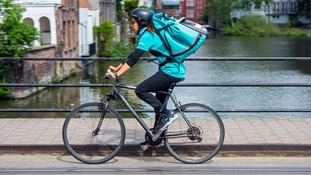 Deliveroo drivers typically cycle to destinations.