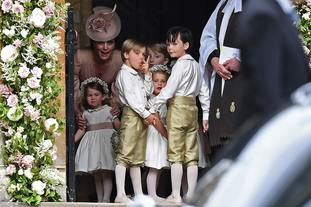 One of the pageboys at Pippa's wedding appears to misbehave.