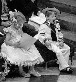A yawn from Prince William during the wedding ceremony of Sarah Ferguson and the Duke of York at Westminster Abbey.