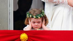 Grace van Cutsem on the palace balcony at William and Kate's wedding.